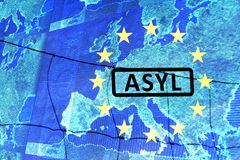 Asylum in Europe. On the map of Europe is the lettering ASYLUM. Surrounded by the European circle of stars. The graphics run out of the image plane. German royalty free illustration