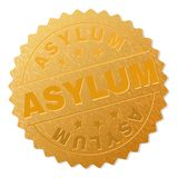 Golden ASYLUM Badge Stamp. ASYLUM gold stamp award. Vector golden award with ASYLUM text. Text labels are placed between parallel lines and on circle. Golden vector illustration