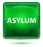 Asylum Neon Light Green Square Button. Asylum Isolated on Neon Light Green Square Button royalty free illustration