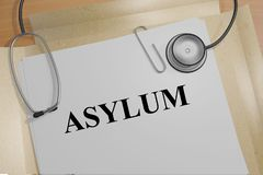 ASYLUM - medical concept. 3D illustration of ASYLUM title on a medical document stock illustration
