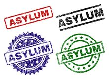 Damaged Textured ASYLUM Seal Stamps. ASYLUM seal prints with distress surface. Black, green,red,blue vector rubber prints of ASYLUM caption with corroded surface vector illustration