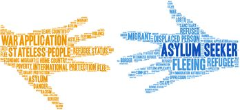 Asylum Seeker Word Cloud. On a white background stock illustration