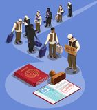 Asylum Seekers Queue Composition. Stateless refugees asylum icons isometric composition with characters of displaced persons and rejected visa in passport vector royalty free illustration