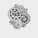 Asymetryczny czarny ornament dla tatuażu Zdjęcia Royalty Free