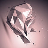Asymmetric 3D abstract lattice object with lines mesh. Placed over shaded background Royalty Free Stock Photos
