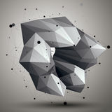 Asymmetric 3D abstract object with connected lines and dots, geo Royalty Free Stock Photos