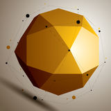 Asymmetric 3D abstract object with connected lines and dots, geo. Metric form with lattice structure Royalty Free Stock Photo