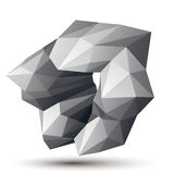 Asymmetric 3D abstract object, monochrome geometric spatial form. Render and modeling Stock Photos