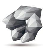 Asymmetric 3D abstract object, monochrome geometric spatial form Stock Photos
