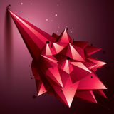 Asymmetric 3D abstract red object with connected lines and dots,. Geometric form with lattice structure Royalty Free Stock Images
