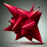 Asymmetric 3D abstract red object with connected lines and dots, Stock Photo