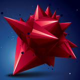 Asymmetric 3D abstract red object with connected lines and dots, Royalty Free Stock Photography