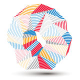 Asymmetric 3D abstract striped object, colorful geometric vector. Spatial form. Render and modeling Stock Photos