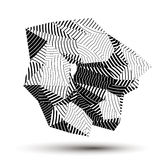 Asymmetric 3D abstract striped object, monochrome geometric. Spatial form. Render and modeling Stock Photo
