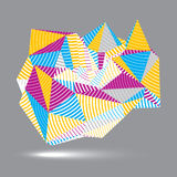 Asymmetric 3D abstract striped vector object, colorful geometric. Spatial form. Render and modeling Royalty Free Stock Image