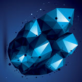 Asymmetric 3D blue abstract object with connected lines and dots. Geometric form with lattice structure Stock Photo