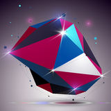 Asymmetric 3d technology glossy shape with connected lines and d Royalty Free Stock Images
