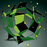 Asymmetric 3D vector abstract construction with yellow connected. Lines and dots, green geometric form with lattice structure Royalty Free Stock Photos