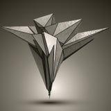 Asymmetric peak technology metallic object, complicated cybernet Stock Photo