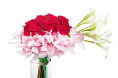Asymmetric red wight bouquet Royalty Free Stock Photography