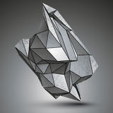 Asymmetric sharp metallic object created from geometric figures. Stock Photography