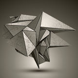 Asymmetric technical zink object, complicated. Cybernetic element created from geometric figures royalty free illustration