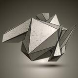 Asymmetric technical zink object, contrast cybernetic spatial el. Ement vector illustration