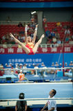 Asymmetrical bars-Chinese gymnastics competition in the Seventh National City Games Stock Images