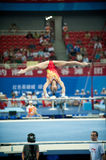 Asymmetrical bars-Chinese gymnastics competition in the Seventh National City Games Stock Image