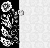 Asymmetrical black and white background. Abstract black and white background with flowers and floral elements Royalty Free Stock Photos