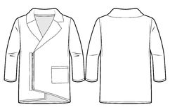 Asymmetrical cardigan with zip at front. Front and back view of an asymmetrical cardigan with zip at front royalty free illustration