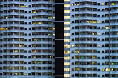 Asymmetrical resident. Building in the night Stock Photos