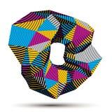 Asymmetrisch 3D abstract gestreept voorwerp, kleurrijke geometrische vector vector illustratie