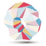 Asymmetrisch 3D abstract gestreept voorwerp, kleurrijke geometrische vector stock illustratie