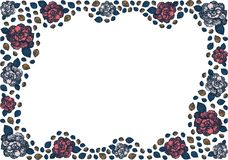 Asymmetrisch golvend kader van knoppen en bladeren van rozen stock illustratie