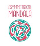 Asymmetrisch roze en blauw mandalaontwerp met dalingen in een cirkel geometrische vorm stock illustratie