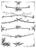 Asymmetrische grensdecoratie van bamboe Royalty-vrije Stock Afbeeldingen