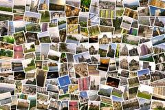 Asymmetrisk mosaikblandningcollage av foto 200+ av olika ställen, landskap, objekt som skjutas under Europa, reser mig själv Arkivbild