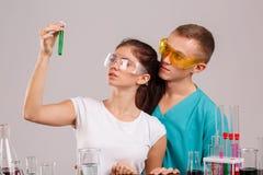Asystent, rozważa kolbę z zielonym cieczem Indoors laboratorium odosobnienie Obraz Royalty Free
