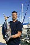Atún de albacora del gran juego de la pesca del pescador Foto de archivo