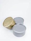 Atún de tres latas Imágenes de archivo libres de regalías