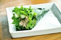 Atún del sushi del rodillo Foto de archivo libre de regalías
