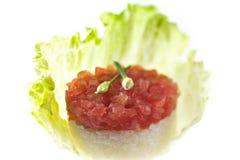 Atún sin procesar con arroz de sushi imagenes de archivo
