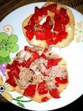 Atún y tomates de Freselle foto de archivo libre de regalías
