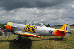 AT6 Texan airplane on display. AT-6C-15-NT Texan on display, Pilsen airshow on August 25, 2012 in Pilsen, Czech republic. Plane is in marking of South African Stock Image
