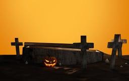 Ataúd abierto del cementerio de Halloween con la cruz 3d-illustration Fotos de archivo libres de regalías