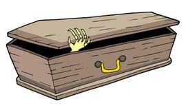 Ataúd con la mano que agita stock de ilustración