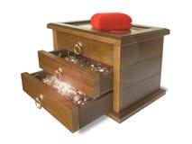 Ataúd de madera con joyería Foto de archivo