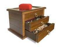 Ataúd de madera con joyería Foto de archivo libre de regalías
