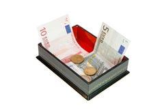 Ataúd rectangular con el dinero euro Fotografía de archivo libre de regalías